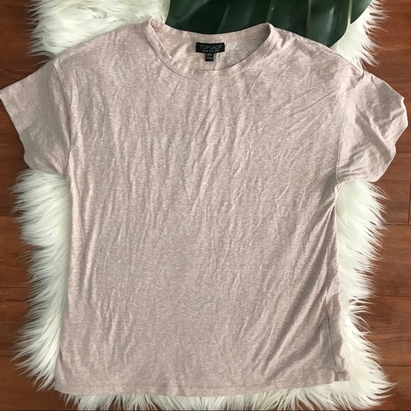 Topshop Tops - TopShop Heathered Pink basic tee